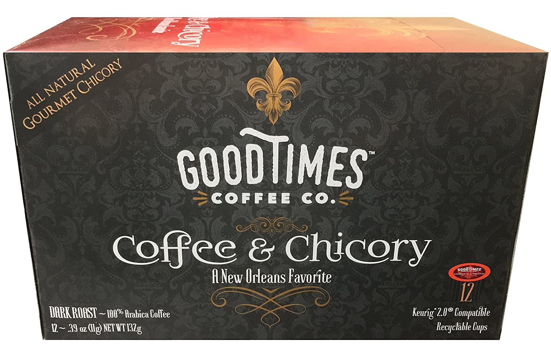 GOOD TIMES COFFEE AND ORGANIC CHICORY DARK ROAST
